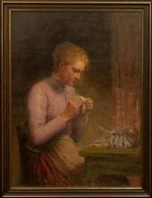 Image of painting : Young Girl Knitting